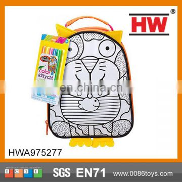 Most Funny DIY Educational Intelligence toys with washable colors pen schoolbag for kids