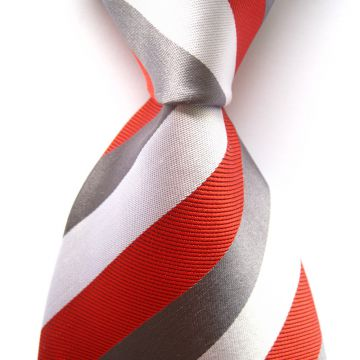 Printed Striped Silk Woven Neckties Adult Ivory