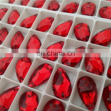 Drop Shape Red Crystal Stone For Sew On Garment Decoration