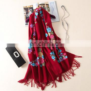 Winter national flower embroidered thick wool pashmina scarf