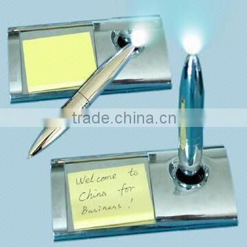 Stainless steel pen holder and metal ball pen with notepad for promotion