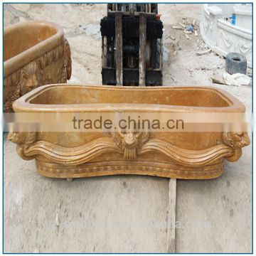 Vintage Classical Natural Yellow Marble Bathtub with Lion