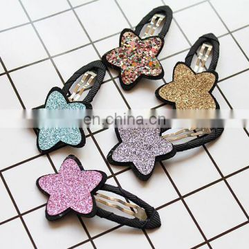 Glitter Sparkling Star Snap Clip Hair Pin For Baby Kids Photo Prop