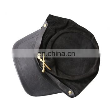 HMB-904D LEATHER SUEDE CIVIL WAR RUSSIAN STYLE CAP MILITARY HATS BLACK