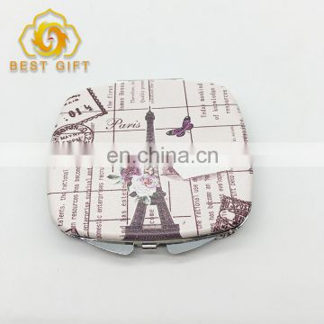 Paris Customized Leather Metal Compact Mirror