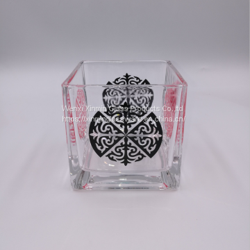 Wholesale Square Potted Plant Glassware Suppliers Glass Vase Of