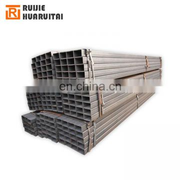 Welded carbon erw black square rectangular steel tube price from tianjin factory