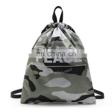 Custom nylon waterproof camouflage sports drawstring backpack bag