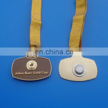 Magnet gold cup metal pendant medal with ribbon