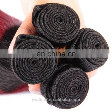 Cheap Malaysia ombre human hair 10-26inch 8a colored red hair weave 1B/burgundy two tone ombre remy hair weaving paypal accept
