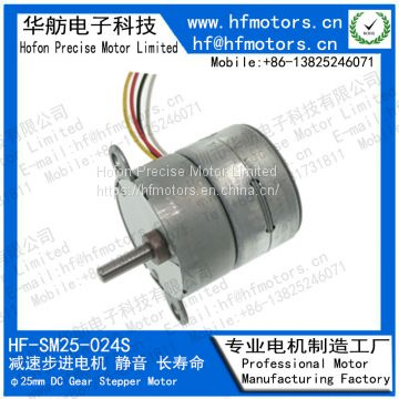 Two Phase Geared Stepper Motor with High Precision Gear 0.15° Step Angle SM25-024S