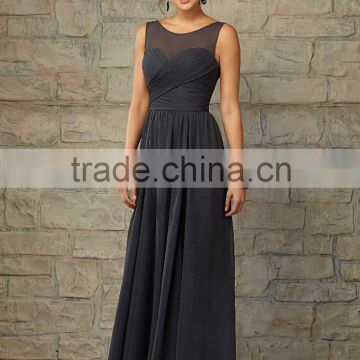 Cheap ruched customize cheap 2015 floor length dark gray bridesmaid dresses CWFabb3921