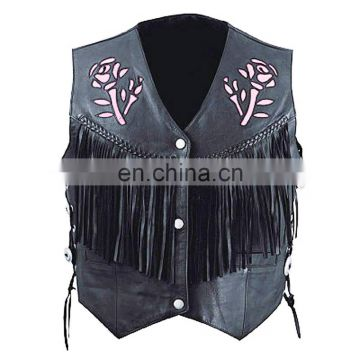 HMB-3561A LEATHER VEST FRINGES ROSE STYLE WAISTCOAT BLACK VESTS