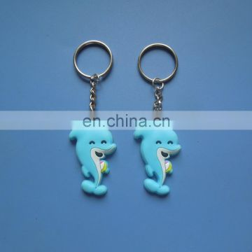 Cute 3D blue color dolphin cartoon design rubber pvc keychain