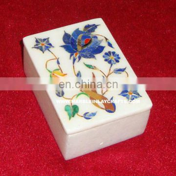 White Marble Stone Inlay Box Handcrafted Jewelry Box