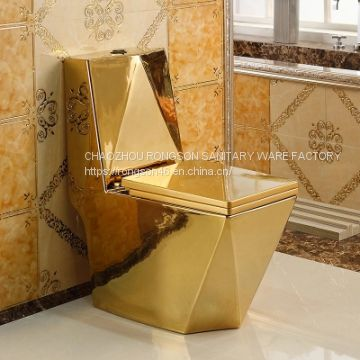 Gold color ceramics popular used one piece bathroom toilet closet