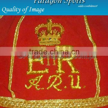 Hand Embroidered Honours Cap with Gold Braid & Tassel, Red Velvet
