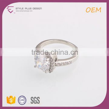 R63475K01 Best selling silver plated big diamond ring designs unique couple ring designs