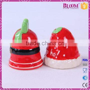 Christmas bell desgin ceramic salt pepper shaker