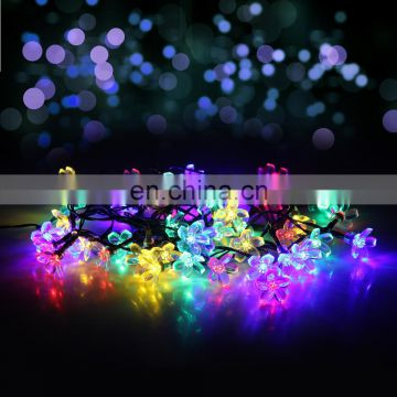 On sale Christmas Garden Patio Indoor Party Decoration RGB Colorful blinking Blossom Flowers Solar String led Lights