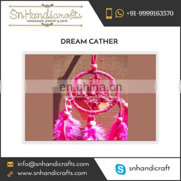 Handmade Long Pink Dream Catcher for Home Decoration