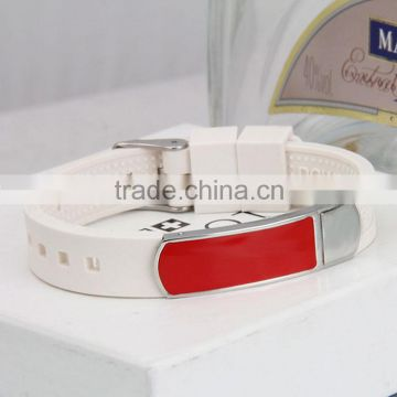 China wholesale fashion souvenir infrared germanium energy cheap custom silicone bracelet negative ions