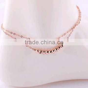 Sexy Barefoot Sandals Double Layer Gold Beads Chain Anklet Ankle Bracelet Beach Foot Jewelry