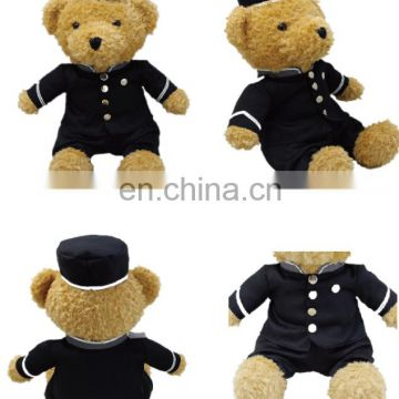 2017 new products 100% pp cotton filling uniform teddy bear plush toy