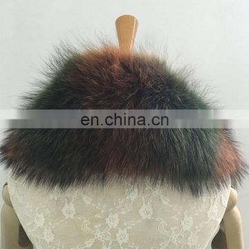 Colorful fashion raccoon fur collar long pattern shawl collar for winter