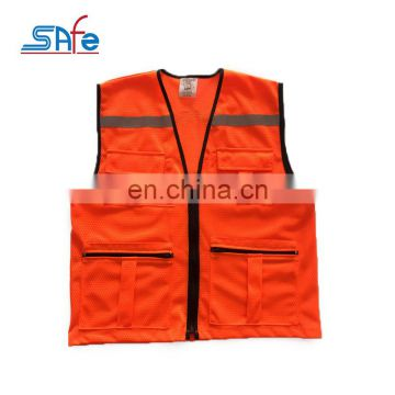 New Product promotional orange-red mesh pockets reflective safety vest with pocket