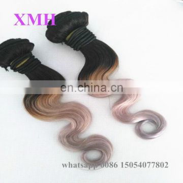 wholesale ombre silver body wave grey Malaysian hair 1b/gray two tone hair extensions for black women