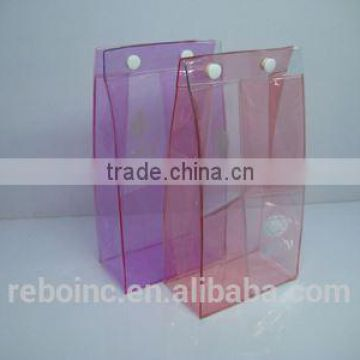 hot design clear snap pvc bag with hook plastic hanging hook