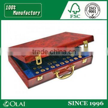 Luxury Design Wooden Souvenir Coin Box Medal Gold Coin Box