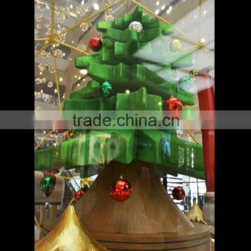Small glitter gold/green colors glass fiber reinforced plastic christmas tree christmas decoration
