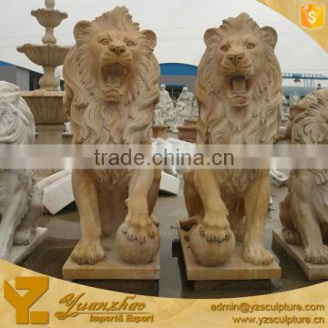 Life size sunset red marble standing lion for garden decoration