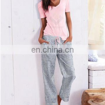 100% Cotton Lounge Pants And Top short sleeved Tee