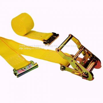 Yellow Color Sling 2 Inches 16 Feet Ratcheting E-Track Logistic Ratchet Set