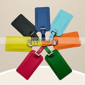 custom printing shape PU leather luggage tags loop strap /travel ID card airplane pu leather luggage tag