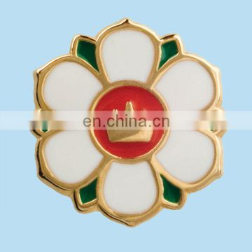 custom metal poppy lapel badge with gold plated