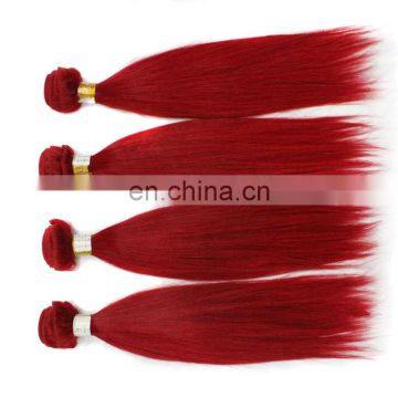 Factory direct sale top quality red color human hair extensions 100% real silk indian hair weaving