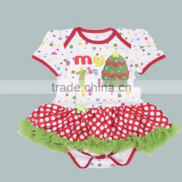 wholesale 2016 boutique Christmas santa hat baby clothes little girl Xmas cloth infant skirt outfit holiday newborn romper sets