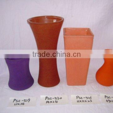 Professional Fancy Cheap Antique Frosted Colored Glass Vases Unique
