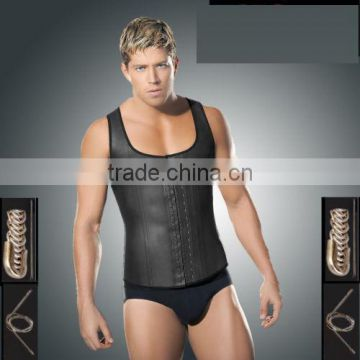 Men Sport Latex Waist Training Cincher Body Shaper Basque Halter Corset Ann Slim