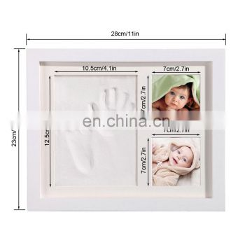 DIY Newborn Baby Keepsake Baby Footprint Frame, Baby Room Decor Hand and Footprint Clay Kit with Wooden Photo Frame