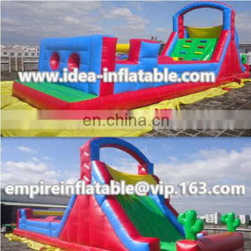 Air blower included inflatable obstacle course for adults or kids play ID-OB026