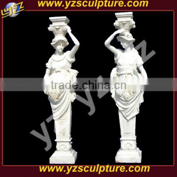 beautiful garden hand carved white marble column with roman lady