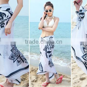 Womens Chiffon Printed Bikini Cover Up Pareo Sarong dress Swimwear Wrap Beach Scarf