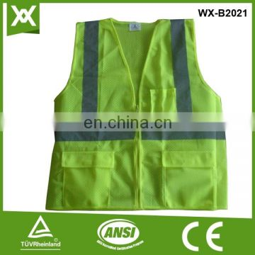 Factory made 100%polyester fabric mesh /knit reflective tape work tape security vest