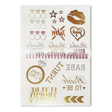 gold and pink stamp bachelorette party custom temporary tattoos