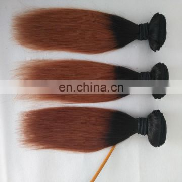 Chinese factory express two tone color hair extensions ombre color 1b/30# malaysian natural hair extensions